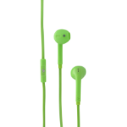 In-Ear Stereo Earbuds with In-line Microphone - handsfree, tangle free with flat cable design IM-04 HA130-GRN-21NC