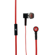 In-Ear Stereo Noise Isoloating Earbuds with In-line Microphone - handsfree, tangle free with flat cable design IM-04 HA140-RED-21NC-1